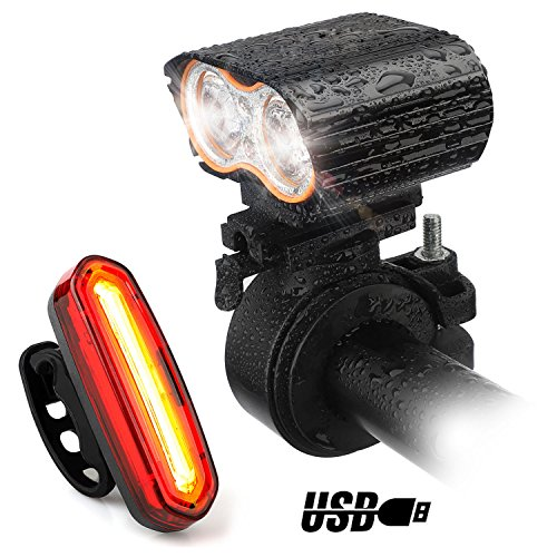 120 Bike Light - USB Rechargeable Bike Light Kit, Yuanli Waterproof  IPX-6 Super Bright 2400 Lumens Bike Headlight 120 Lumens Bicycle Tail Light, Easy To Install Safety Flashlight for Cycling,Commuting,Riding