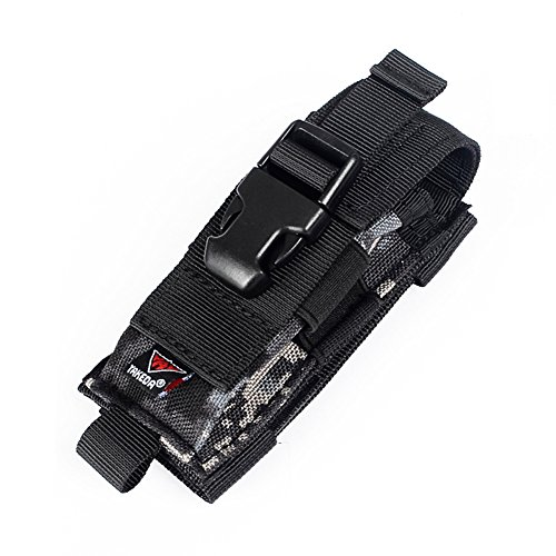 Yakeda Carry All Folding Knife Belt Sheath Nylon Sheath Dual Carry/Molle Strap Knife Bag--C88044-1 (Black)