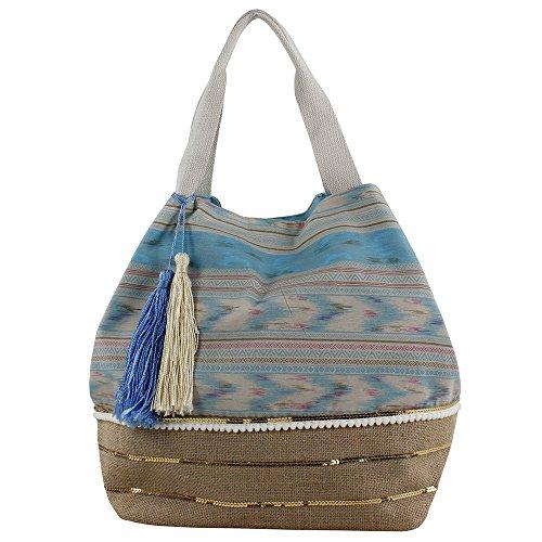 For Étnico Azul cm Rafia Tela Bolsa de 34 y de para Y Time 20 Mujer con Tiras x x Playa Shopper 40 rqxS1Ewr