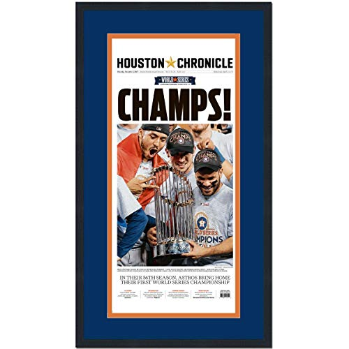 Framed Houston Chronicle Champs Astros 2017 World Series Champions 17x27 Baseball Newspaper Cover Photo Professionally ()