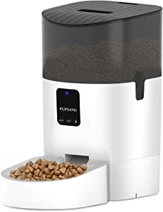 PUPSAND Automatic Cat Feeder 7L Bluetooth Dog Food Dispenser, Timed Pet Feeder Automatic Programmable Portion Control 1-8 Meals per Day & 10s Voice Recorder for Small / Medium Pets