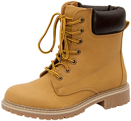 Forever Broadway-3 Women's Combat Lace up Padded Outdoor Work Shoes Ankle Short Boots,Color Camel, Size:6.5