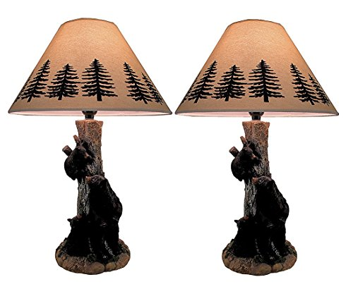 Curious Cubs in a Tree Decorative Black Bear Table Lamp Set of 2 (Black Bear 2 Light)
