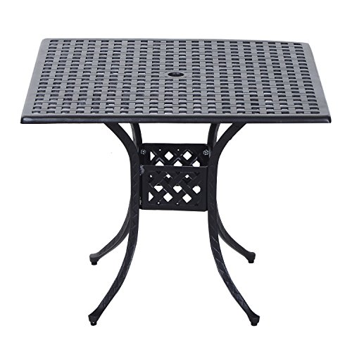 (Outsunny Square Cast Aluminum Outdoor Dining Table - Black)