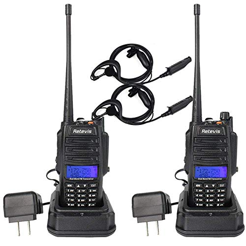 Retevis RT6 IP67 Waterproof Anti-dust 2 Way Radio Ham Radio Transceiver VHF/UHF 136-174Mhz /400-520Mhz with Waterproof Earpiece and Programming Cable(2 ()