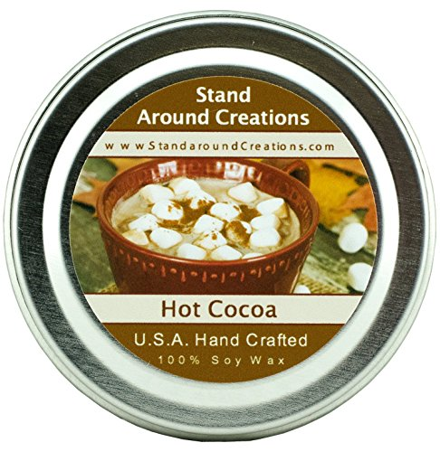 Premium 100% All Natural Soy Wax Aromatherapy Candle - 2 oz Tin- Hot Cocoa - Warm hot chocolate with melted marshmallow topping (Topping Oil)