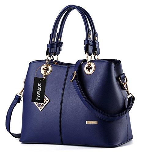 Tibes Elegante bolso de piel de imitación mango superior 4pcs set Satchel Bolso Beige Azul zafiro