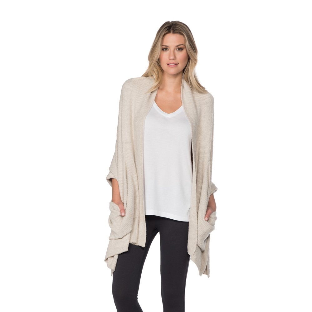 Barefoot Dreams Bamboo Chic Lite Heathered Ribbed Shaw, Color: Sand-Pearl