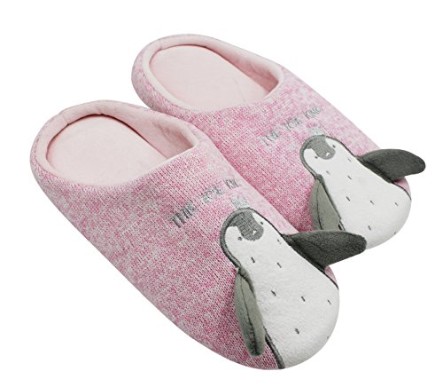 KINGSEVEN Womens and Mens Couple Cute Penguin Knitted Soft Sole House Slippers, Anti-slip Indoor Shoes Pink/Women