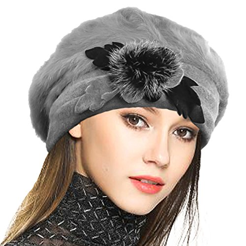 VECRY Lady French Beret 100% Wool Beret Floral Dress Beanie Winter Hat (Angola-Grey)