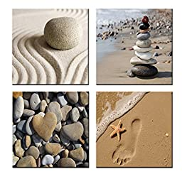 Home Art-modern Art Zen Landscape Giclee Canvas Prints Framed Canvas Wall Art for Home Decor Perfect 4 Panels Wall Decor Sea Beach Photos Paintings for Living Room Bedroom Dining Room Bathroom Office