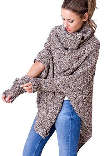 WozWoz Women's Polo Neck Knit Poncho Cape + Arm Warmer Fingerless Gloves (Brown)