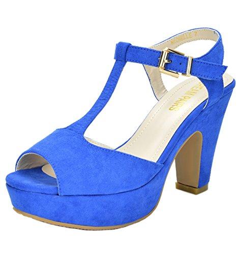 (DREAM PAIRS Women's Michelle Royal Blue Mid Heel Platform Pump Sandals - 5.5 M US)