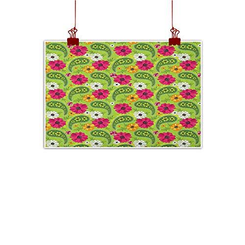 ley,Floral Pattern with Vivid Paisley Print Old Vintage Boho Style Print, Pistachio Pink Orange 24