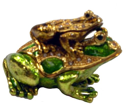[NEW] Jewelry Trinket Box Figurine Case Vintage Collectible for Keepsake Art Decor Holder Organizer Pill Box - Magnet Secured Storage, Jeweled w/ Swarovski Crystals ( Frogs ) (Gold Green Frogs) ()
