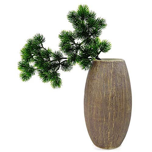 Vaselonsa 1 Piece 40cm Artificial Pine Branch Simulation Green Leaf Desktop Bonsai Decoration Plant Wedding - Rectangular Under Decors Decorative Long Exotic Rose Pack Flowers El (Japanese White Pine Bonsai Tree For Sale)