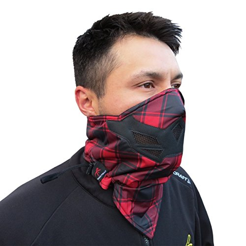 Half Face Mask for Cold Winter Weather. Use this Half Balaclava for Snowboarding, Ski, Motorcycle. (Many Colors) (Red Plaid)
