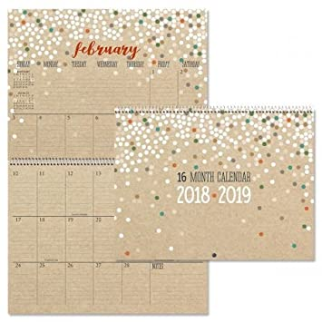 Amazon Com 2019 Kraft Big Grid 16 Month Planning Calendar 12 X