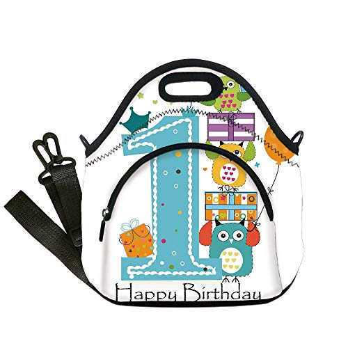 Insulated Lunch Bag,Neoprene Lunch Tote Bags,1st Birthday Decorations,First Cake Candle Owls Family with Box Party Theme,Sky Blue Orange and Green,for Adults and children ()