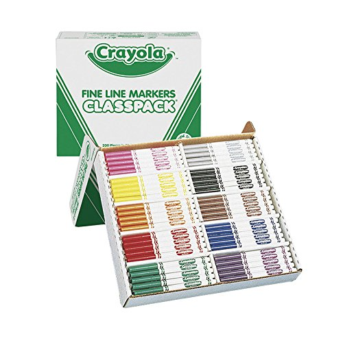 (Crayola Wholesale CASE of 5 Classpack Fine Line Markers-Non-Washable Markers, Fine Tip, 10 Colors, 200/BX, AST)