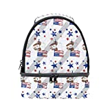 DEYYA 87 M2mg 4Th Of July - Dog Mirror Lunch Bag Insulated Lunch Box Tote with Zip Closure for Men Women Kids