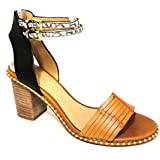 COACH Pexton Womens Ginger/Black Leather Open Toe Blocked Heel Sandals