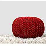 RAJRANG Red Pouf Kids Room Decor - Indian Cotton Cord Stitched Round Pouf Seat Home Decorative Perfect Patio Ottoman