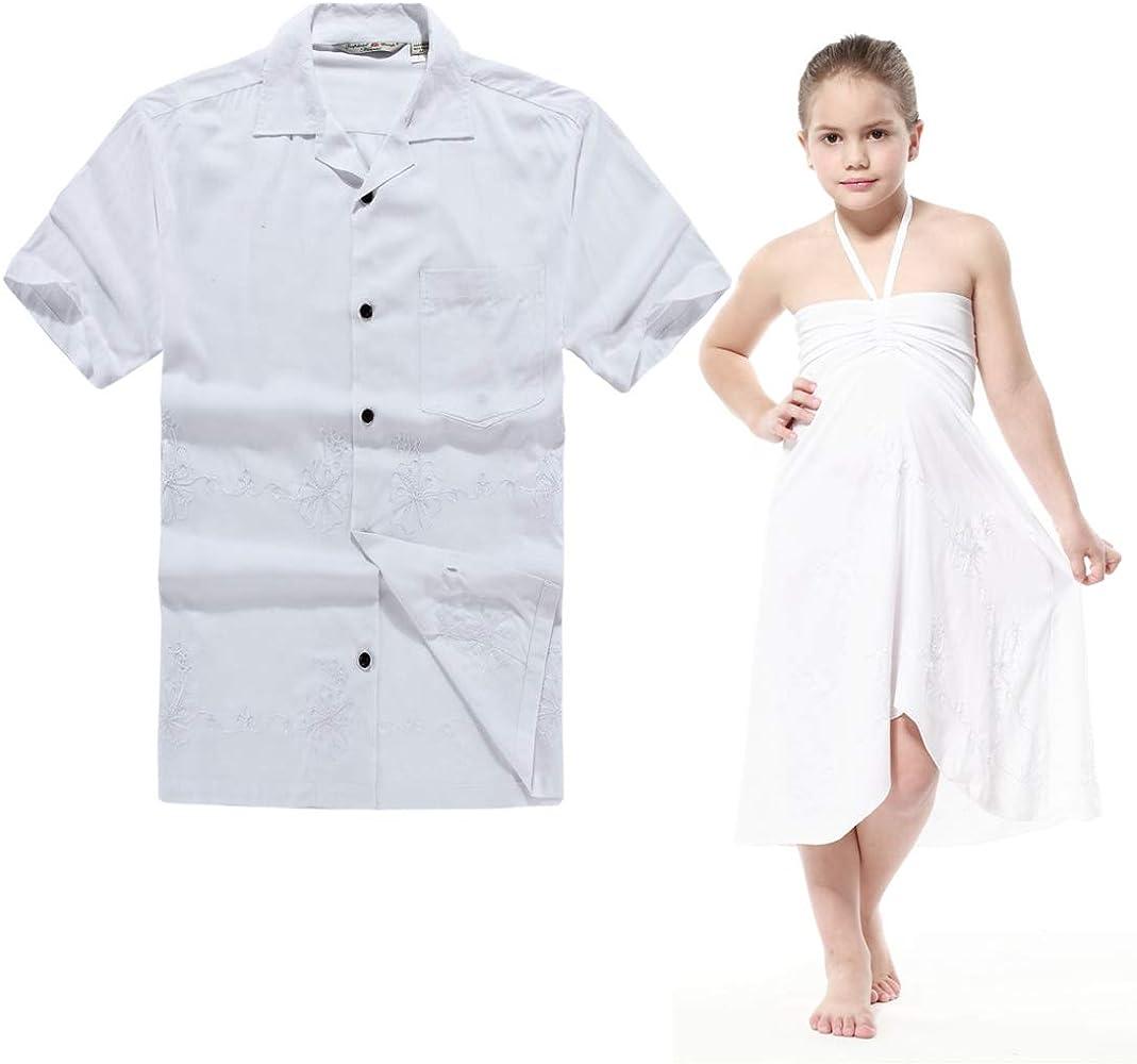Combinación Hawaiana Luau Outfit Hombre Camisa Chica Vestido en Blanco de la Boda Hombre S Niña 10: Amazon.es: Ropa y accesorios