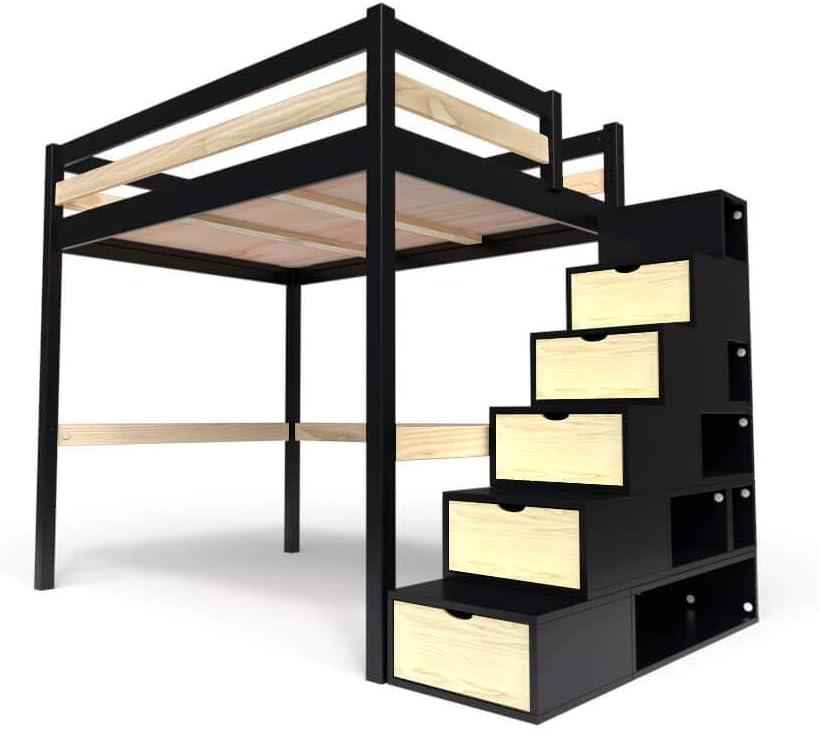 ABC MEUBLES - Cama Alta Sylvia con Escalera Cubo - Cube - Negro/Barnices Naturales, 120x200: Amazon.es: Juguetes y juegos