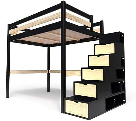 ABC MEUBLES - Cama Alta Sylvia con Escalera Cubo - Cube - Negro/Barnices Naturales, 140x200: Amazon.es: Hogar