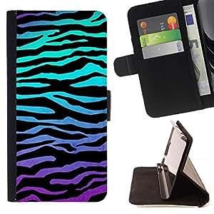 Momo Phone Case / Flip Funda de Cuero Case Cover - Rayas de la cebra del trullo púrpura Líneas - Samsung Galaxy E5 E500