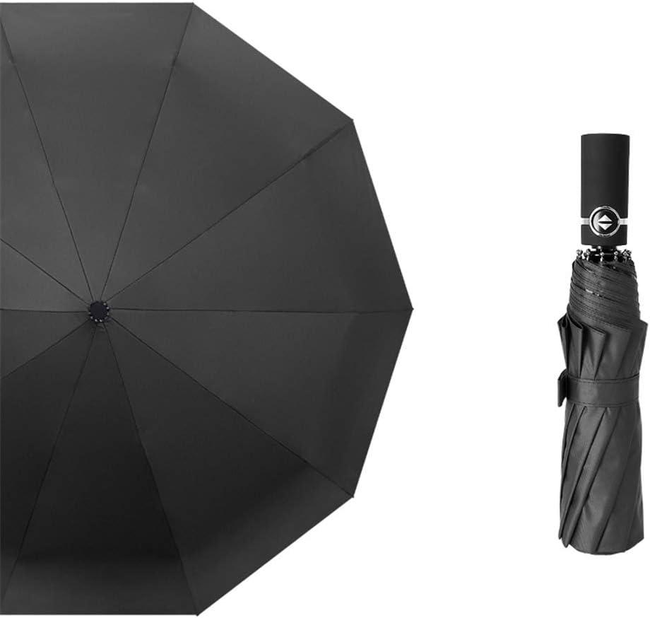 JUNDY Paraguas Compacto y Resistente al Viento, Paraguas Plegable, Conveniente para Viajes Paraguas Totalmente automático de plástico Negro agrandado Color plegable21 107cm: Amazon.es: Hogar