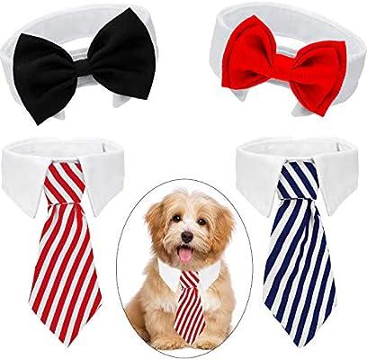 4 Piezas de Pajarita de Mascotas Corbata Ajustable Collar de Perro ...