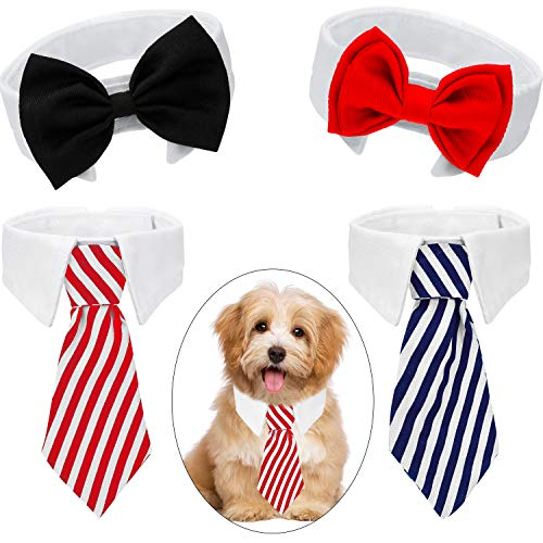 4 Pieces Pet Bow Tie Adjustable Pet Neck Tie Costume Formal Dog Collar for Small Dogs and Cats Puppy Grooming Ties Party…