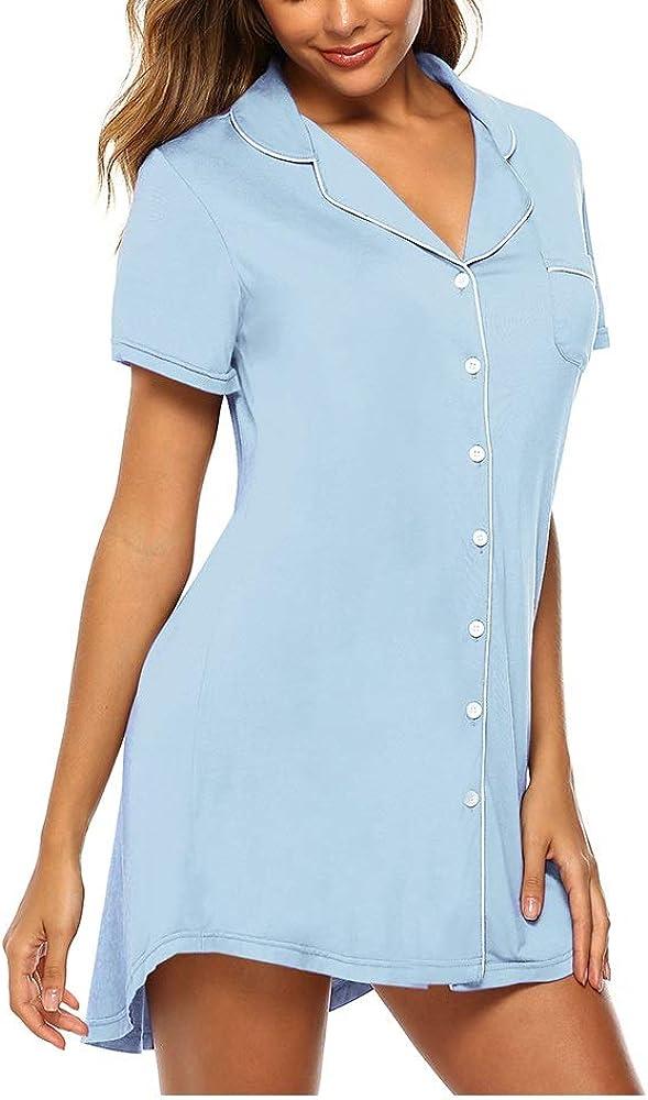 Samring Pajama Nightgown for Women Short Sleeve Button Down Nightwear Top Boyfriend Sleep Shirts Nightdress S-XL