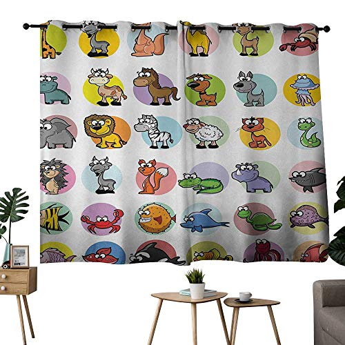 NUOMANAN Blackout Curtains for Bedroom Zoo,Funny Cute Cartoon Style Animals Set Colorful Dots Doodle Jungle Life Kids Room Design,Multicolor,Tie Up Window Drapes Living Room ()