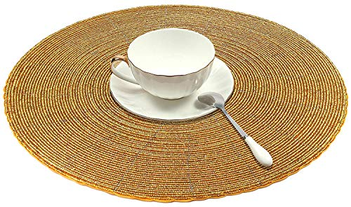 SKAVIJ Round Placemats Gold, Handmade Glass Beaded Woven Round Table Mats for Dining Kitchen Table Placemats or Charger Set of 2, 12″