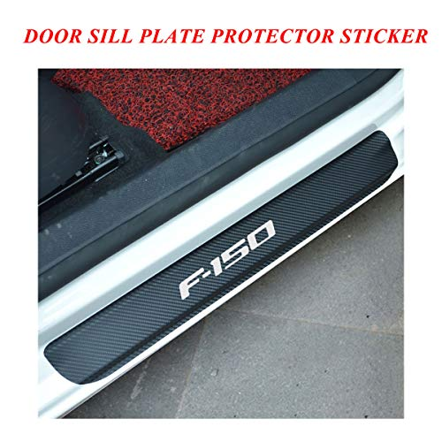 Car Door Sill Entry Guards Protector Stickers, Door Sill Protector Covers with F-150 Logo, Universal Vinyl Door Sill Scuff Plate Protector Pedals for car, Door Sill Guards for Ford F150 series White