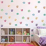 42 bear - YOUOR 42 Pcs Colorful Paw Wall Stickers Nursery Kids Room Decor Bear Dogs Removable Footprints Sticker