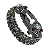 Survival Bracelet 5 in 1 Multifunctional Tactical Survival Gear, Compass, Fire Starter, Paracord, Scraper, Outdoors, Camping, Hiking, Fishing -Cove Gear