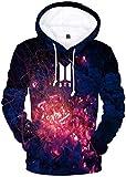 bettydom Women's Novelty Kpop BTS Hoodie Bangtan Boys Patterns Sweatshirt 3D Printed Pullover(L,Black White)