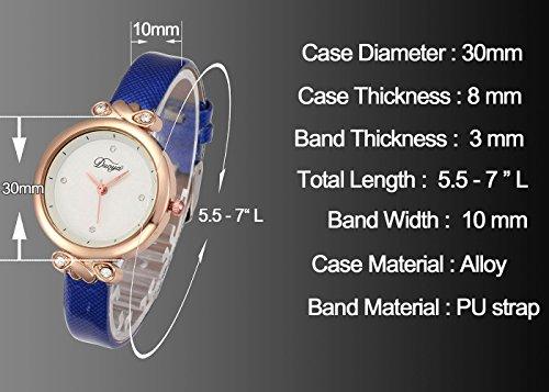 Top Plaza Women Fashion Watches Leather Band Luxury Analog Quartz Watches Girls Ladies Wristwatch - White by Top Plaza (Image #2)