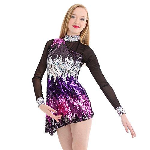 Gia-Mia Dance Women's Sequin Luminous Dress Jazz Stretch Mesh Costume Performance Team, Purple, M (M&m Dress Costume)