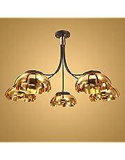 Nowoczesny żelazny żyrandol sufitowy zawieszka światło salon złoty zawieszka światło cień 5 * żarówka E27