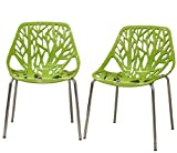 Fancierstudio Birch Sapling Plastic Accent Dining Chairs Green Tree Chair Tree Of Life Chair Set Of 2 Chairs D014G Review