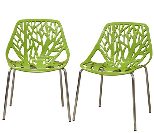Fancierstudio Birch Sapling Plastic Accent Dining Chairs Green Tree Chair Tree Of Life Chair Set Of 2 Chairs D014G