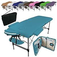 Vivezen Table de massage pliante 2 zones en aluminium + Accessoires et housse de transport - 10 coloris - Norme CE