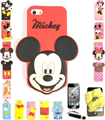 Bukit Cell ® 3D Cartoon Case Bundle - 4 items: SMILING MICKEY Cute Silicone Case for iPhone SE 5S 5 5G + Cleaning Cloth + Screen Protector + METALLIC Stylus Touch Pen