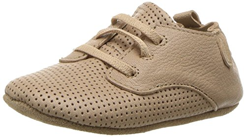 Robeez Boys' Owen Oxford Crib Shoe, Aiden - tan, 0-3 Months M US Infant ()