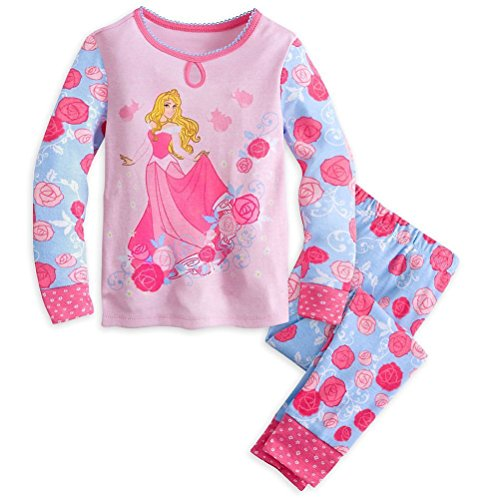 Disney Princess Tights (Disney Store Princess Aurora Girl 2PC Long Sleeve Tight Fit Pajama Set Size 7)
